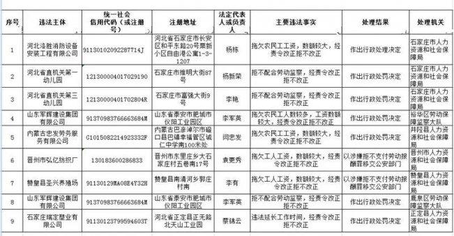 石家庄关于公布重大劳动保障违法行为的公告