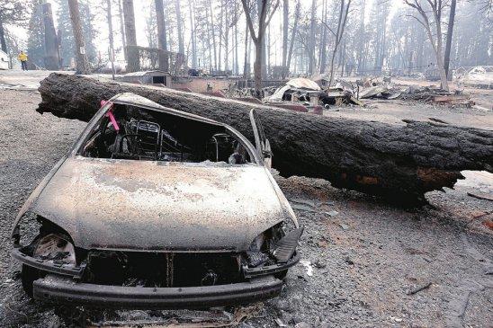 美国加利福尼亚州比尤特县天堂镇山火